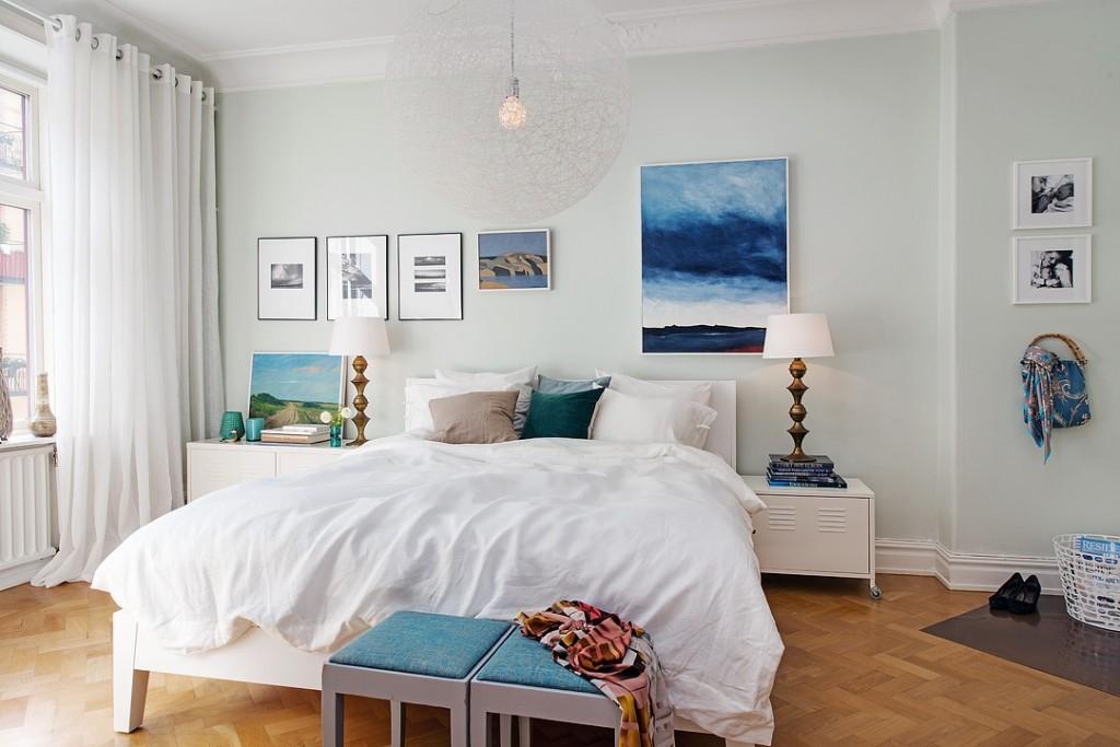 清新北欧风卧室照片墙设计