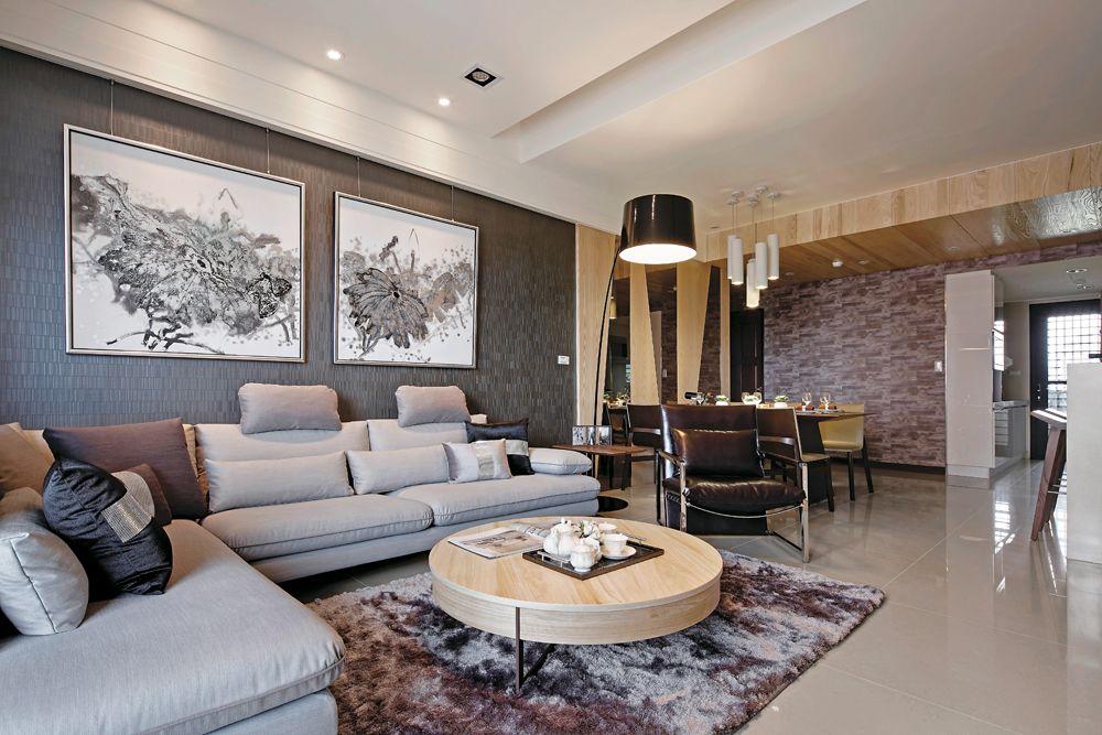 北欧新古典客厅照片墙设计