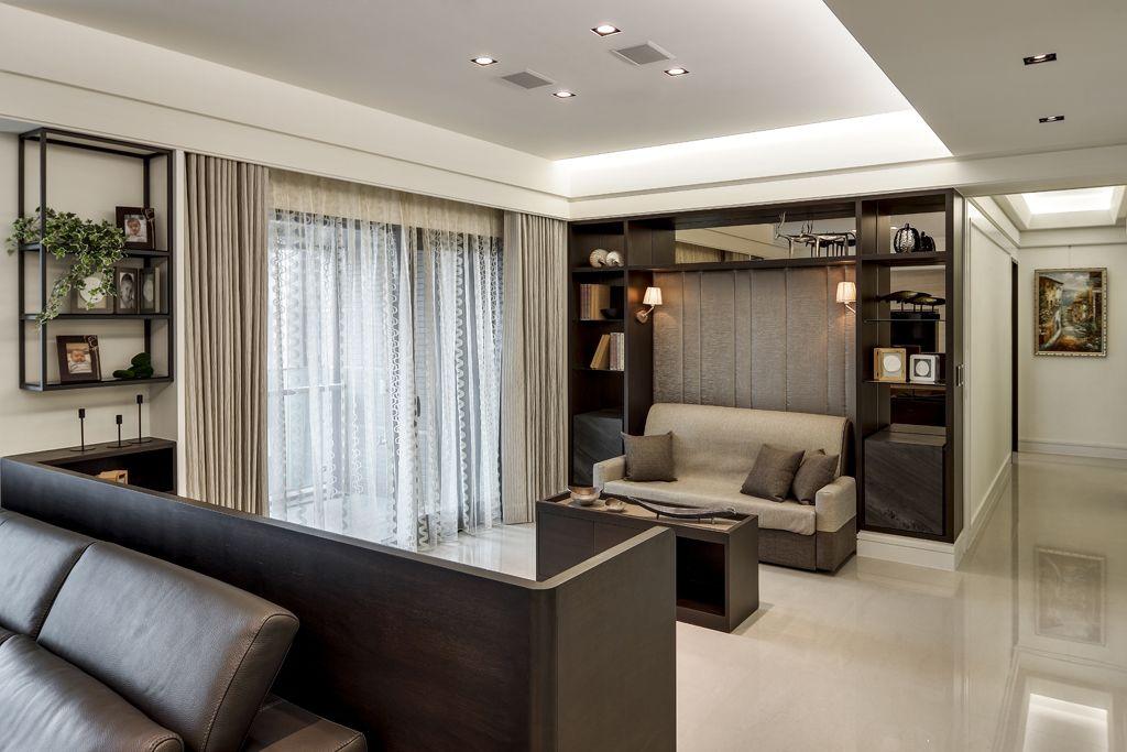 时尚现代简约设计客厅窗帘装饰效果图