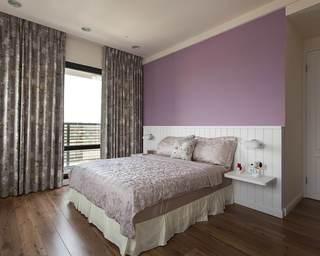 浪漫美式儿童房 紫色背景墙设计