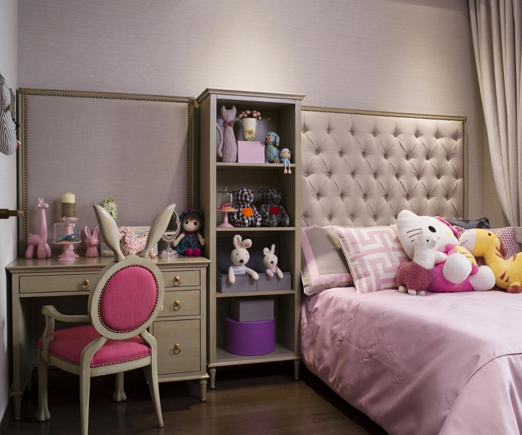 粉色可爱美式儿童房装饰品布置图片