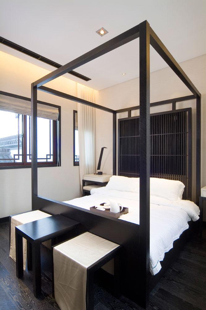 时尚黑色新中式设计 卧室效果图