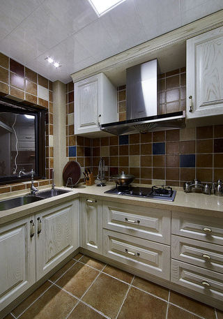 休闲复古美式厨房橱柜设计