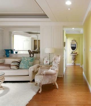 清新欧式装修风格三室两厅装潢欣赏图