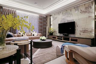 精致简欧风 大理石客厅背景墙设计