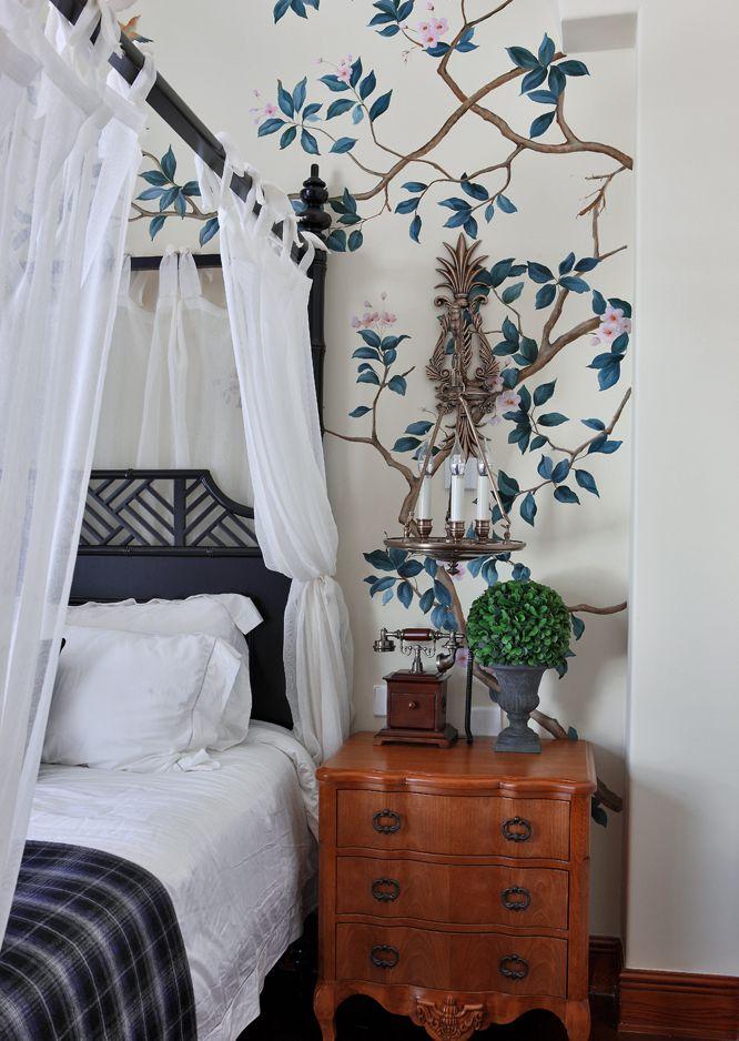 美式田园风卧室墙纸设计