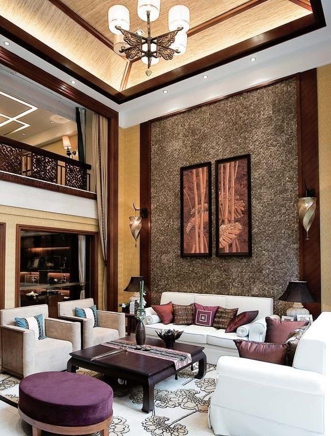 典雅东南亚风格客厅沙发背景墙装潢