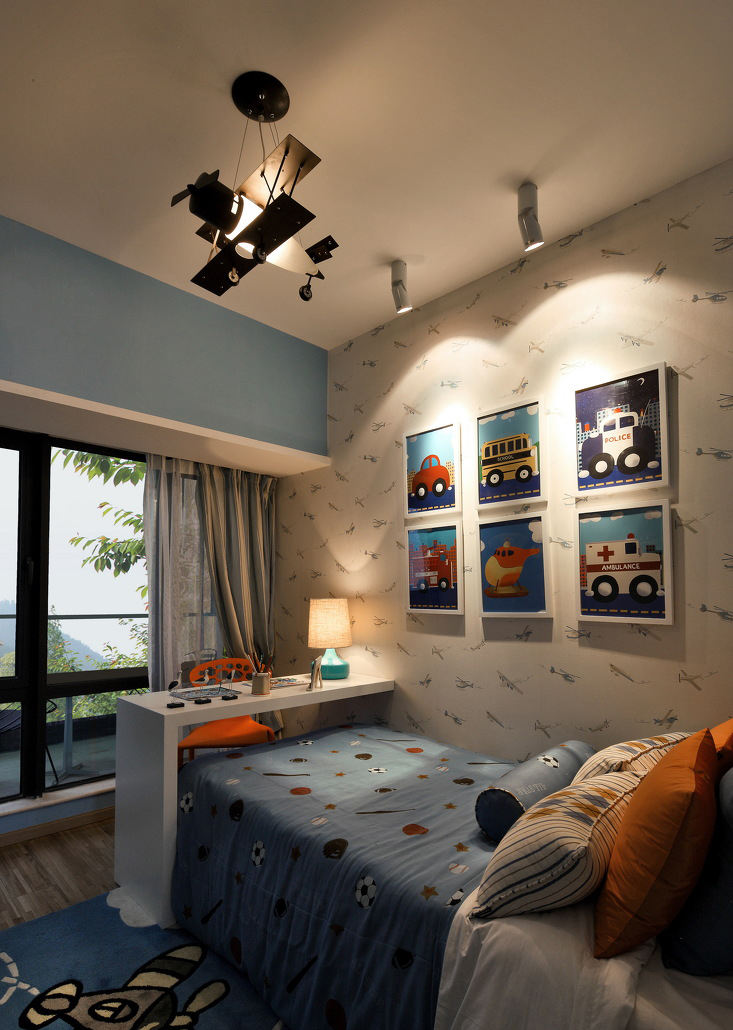 可爱蓝调美式儿童房照片墙装饰设计