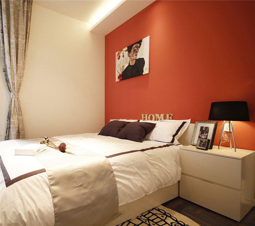 个性红简约北欧风卧室背景墙效果图