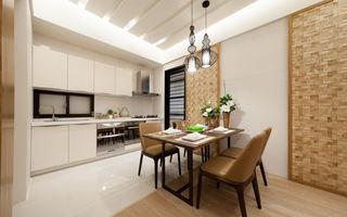 清爽现代简约设计开放式厨房餐厅效果图