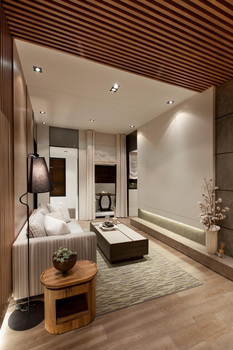 清爽雅致日式客厅吊顶装饰效果图