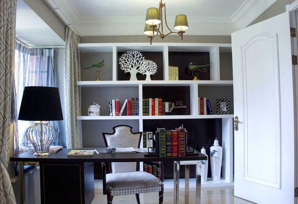 清爽美式书房白色博古架设计效果图