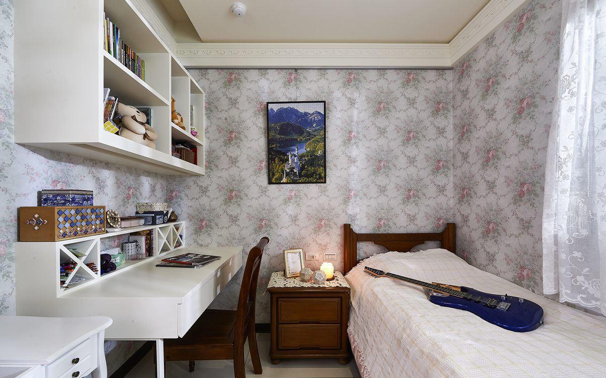 现代简约儿童房书房一体墙纸装饰效果图