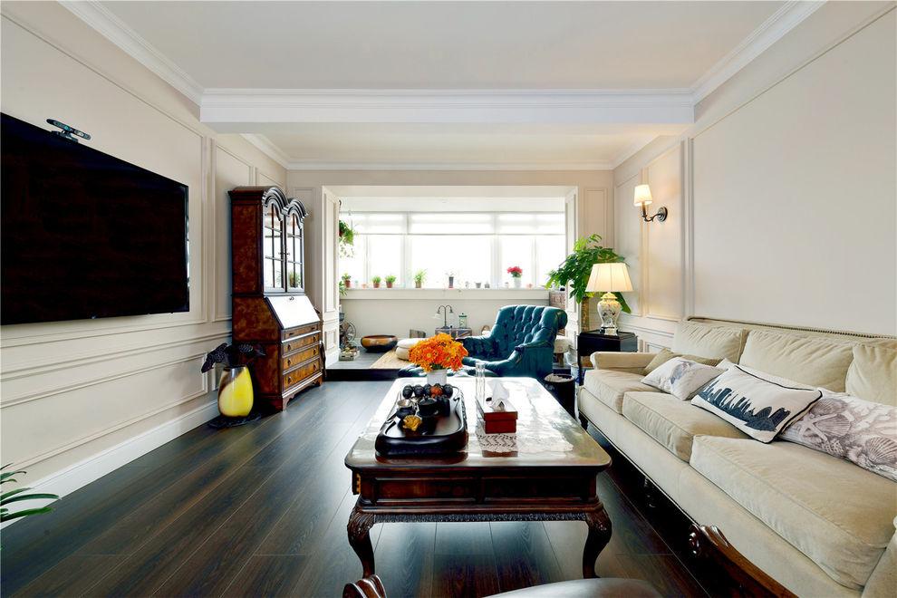 简约美式客厅地台隔断设计