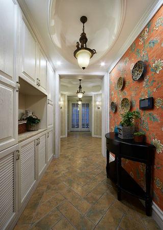 精美欧式新古典室内过道橙色背景墙装饰