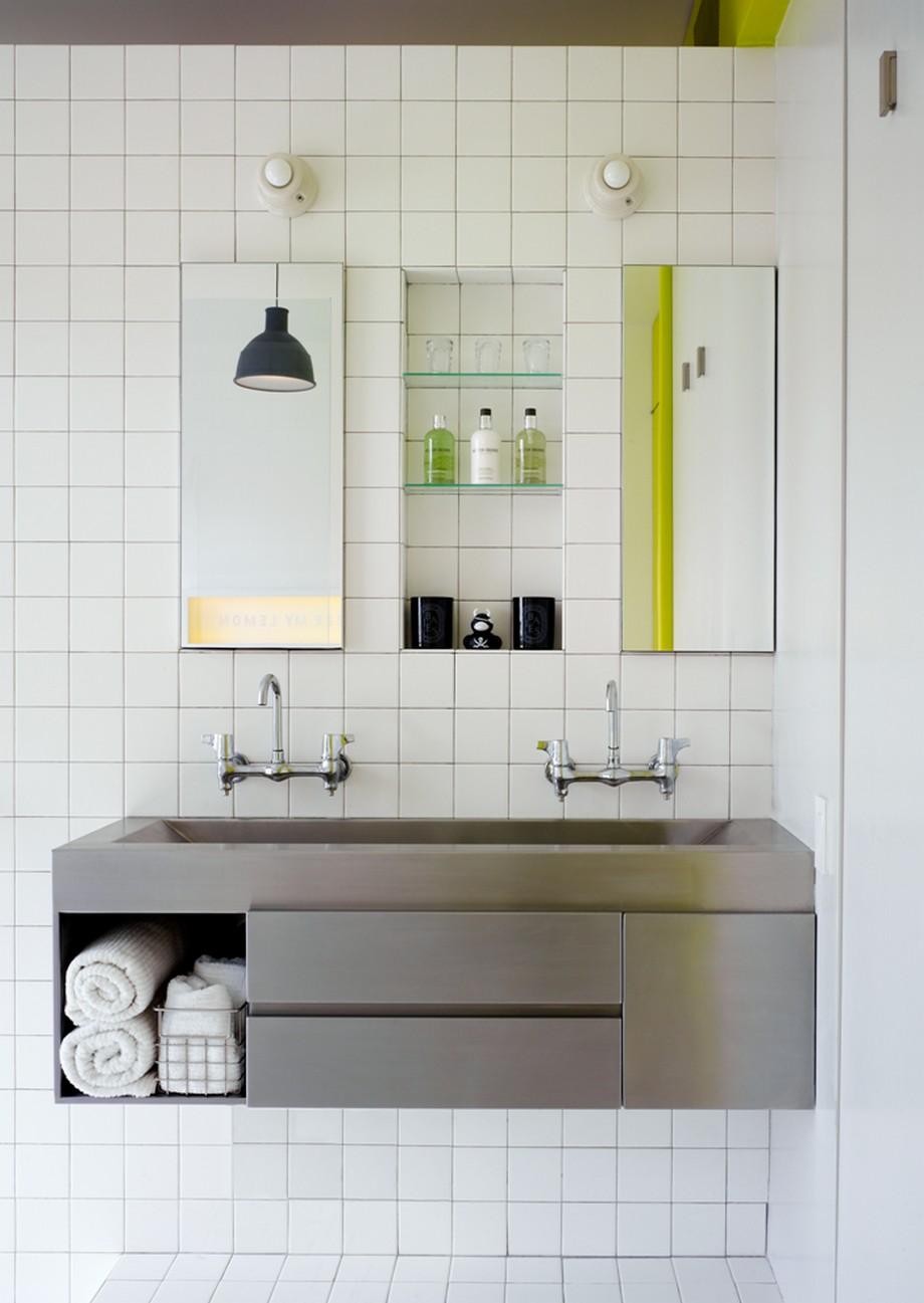 简约纯白马赛克卫生间洗手台设计