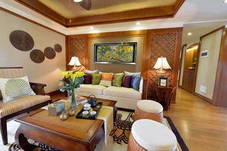 复古东南亚风情客厅沙发背景墙效果图