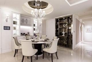 精致唯美简约美式酒柜餐厅圆形吊顶设计