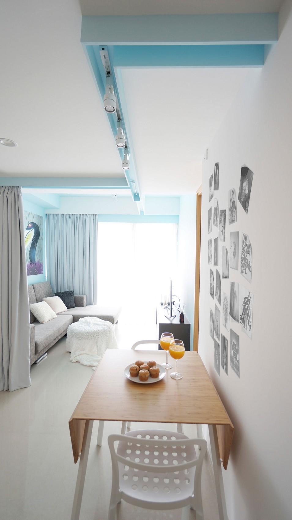 简约清新舒适公寓餐厅简易餐桌布置图