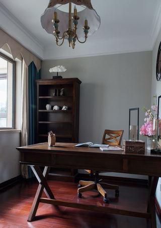 简约中式设计实木书房效果图