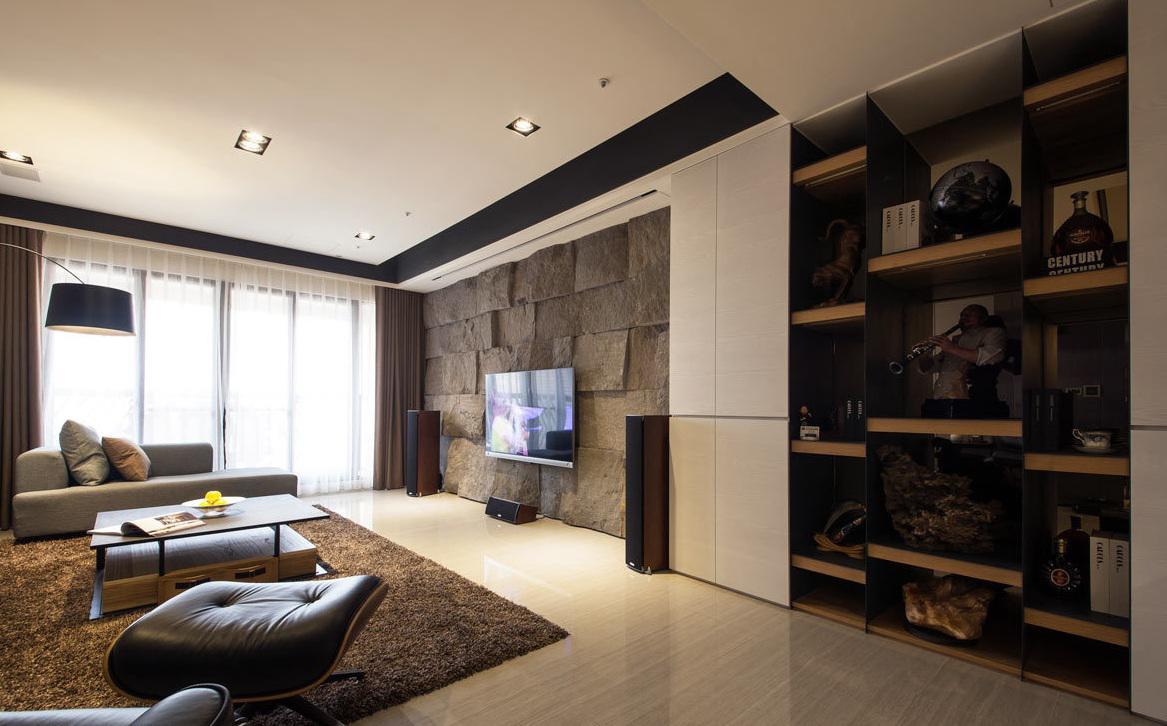现代风格公寓室内设计 客厅背景墙图片
