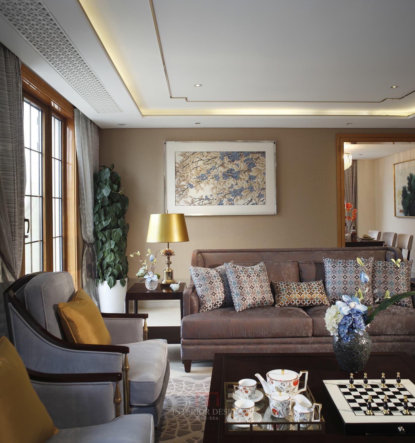 时尚复古美式客厅效果图大全