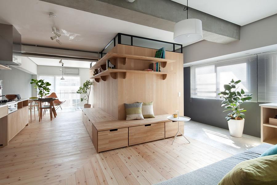 原木日式风公寓室内装潢案例