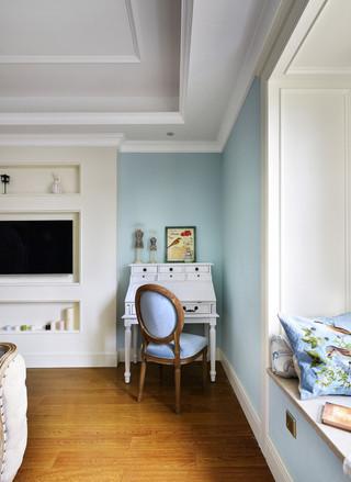 甜美清新田园风卧室浅蓝色背景墙设计