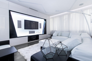 45平时尚黑白个性简约未来感公寓装潢设计