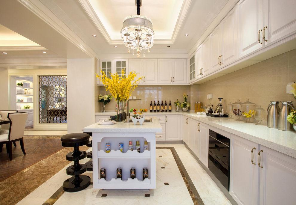 时尚大气美式开放式厨房白色橱柜设计