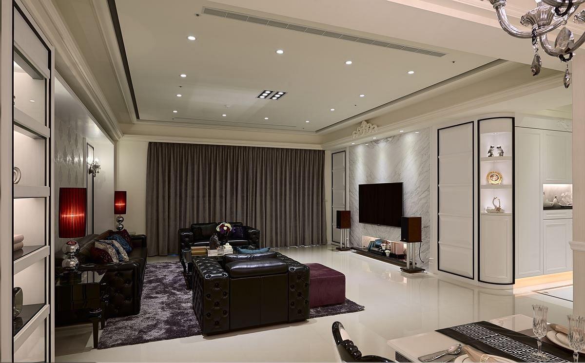 新古典风格三房客厅吊顶案例图