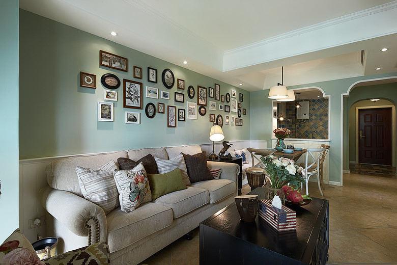 清爽薄荷绿田园混搭二居室内装潢美图欣赏