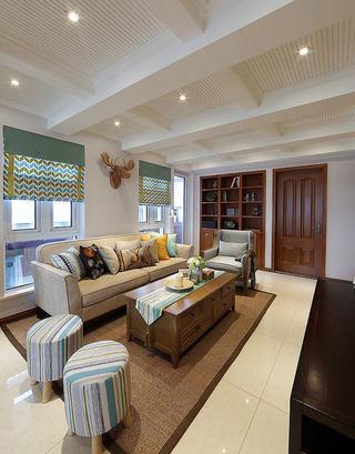 清爽浪漫美式客厅吊顶装饰效果图