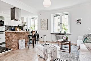48平精致素雅怀旧北欧风情小户型公寓装潢设计
