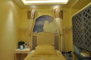 清爽地中海风情小型儿童房背景墙设计