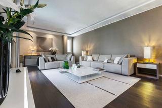 簡約現代風灰色系客廳背景墻裝潢