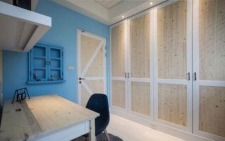 清新蓝色美式自然风书房原木柜子装饰
