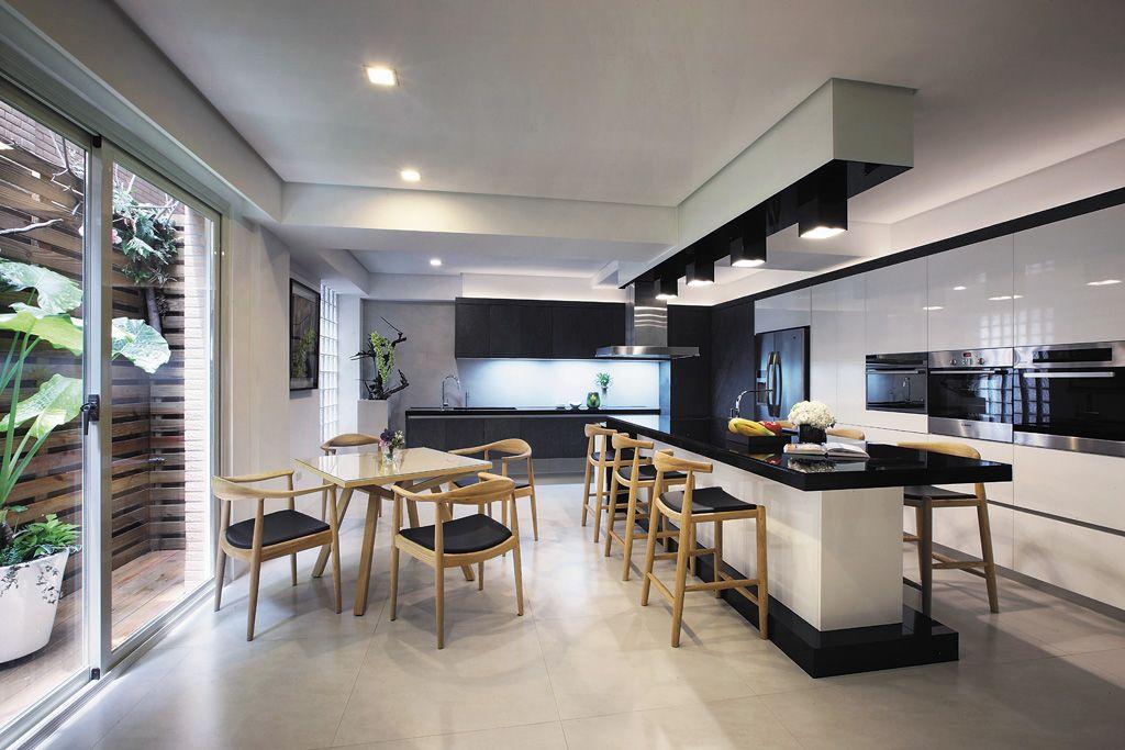 黑白时尚现代餐厨房一体效果图