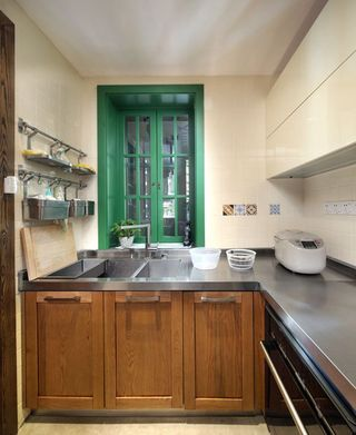 中式混搭风厨房绿色小窗台设计