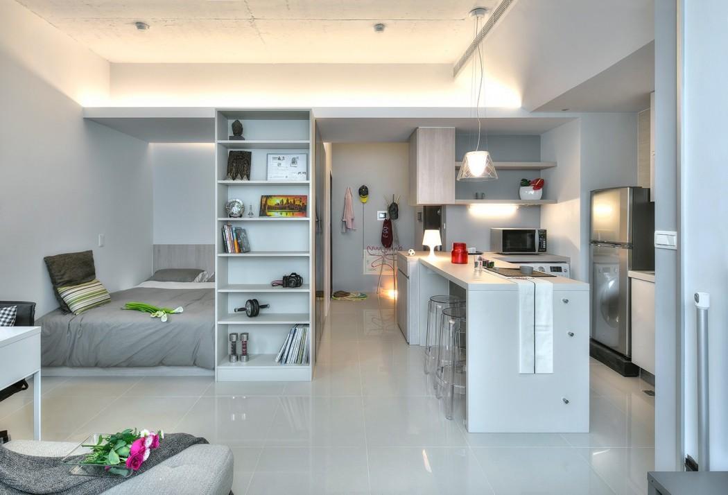 时尚浅灰色简约开放式公寓家居效果图