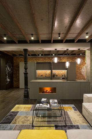 个性北欧工业风格开放式厨房吧台效果图