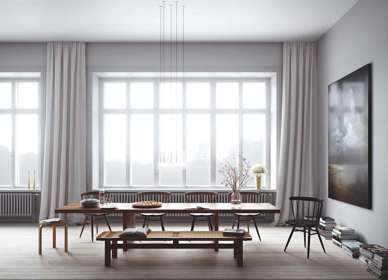 优雅简约北欧风情餐厅窗帘装饰设计