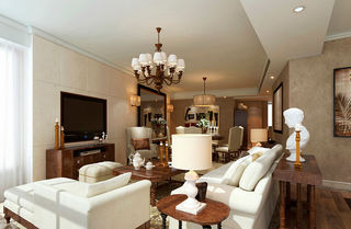 奢华精美浅咖色欧式客餐厅装潢设计