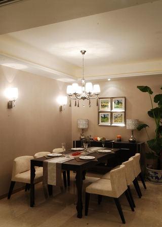 咖色简约现代新中式餐厅装饰效果图