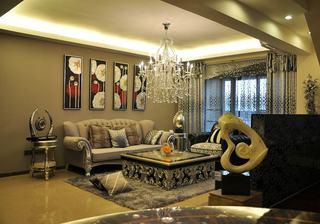 奢华欧式新古典客厅背景照片墙设计