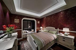 奢华摩登美式暗红色卧室效果图大全