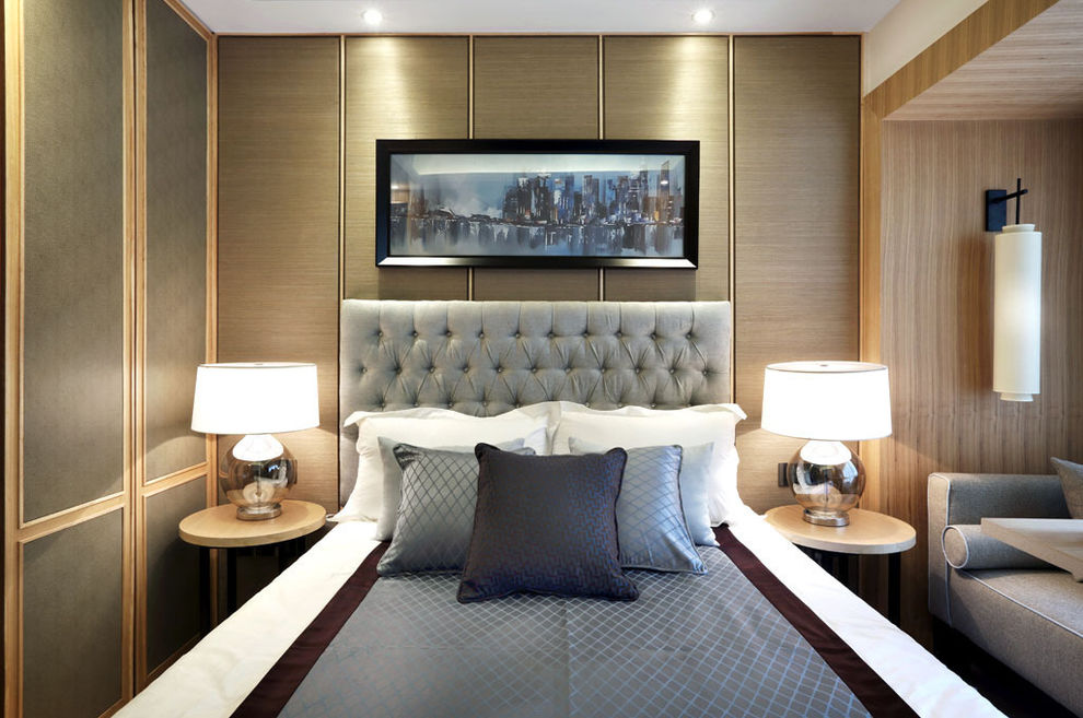 高档新中式设计卧室背景墙装饰
