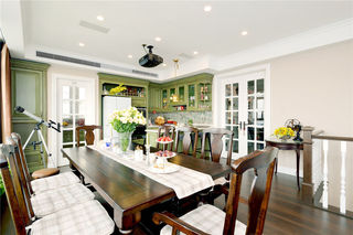 怀旧美式餐厅实木桌椅装饰