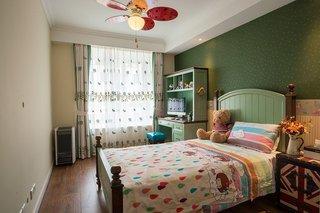 绿色复古美式儿童房背景墙装潢大全