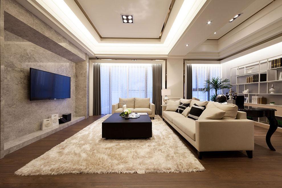 时尚咖色系现代简约客厅书房一体布置